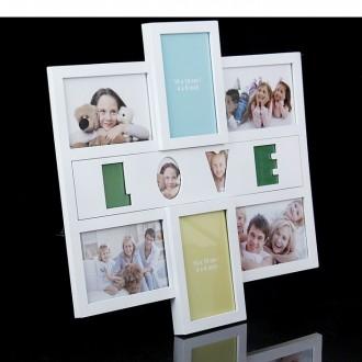 """Фоторамка """"Семейная LOVE"""" белая на 6 фото 10х15 см 41 × 43 см"""