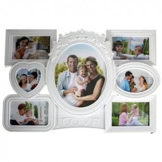 """Фоторамка """"Семейная идиллия"""" белая на 7 фото 10х10 см, 10х15 см, 20х25 см 55,5 × 38 см"""