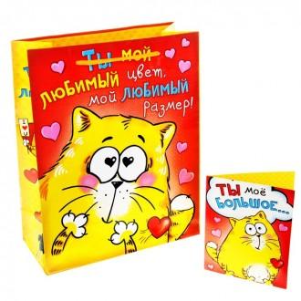 """Пакет подарочный с открыткой """"Ты мой любимый цвет, любимый размер"""" 18*23 cм"""