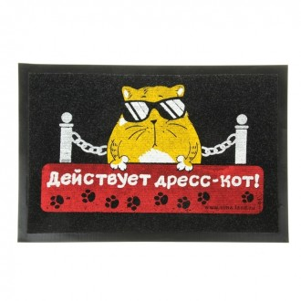 """Коврик придверный """"Действует дресс-кот!"""" 60*40 см (под заказ)"""