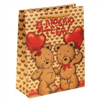 """Пакет подарочный крафт """"Мишки с сердцем. Я Люблю тебя"""" 11*14 см"""