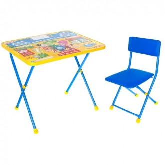 """Набор детской мебели """"Фиксики. Азбука"""" складной: стол, мягкий моющийся стул и пенал, цвет синий"""