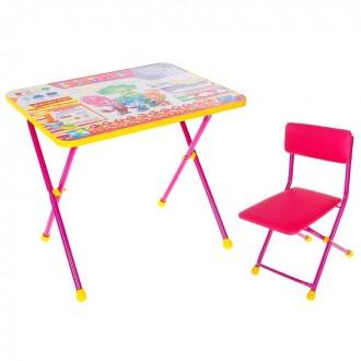 """Набор детской мебели """"Фиксики. Знайка"""" складной: стол, мягкий моющийся стул и пенал, цвет розовый"""