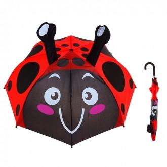 """Зонт детский """"Весёлая божья коровка"""" с рожками, диаметр 74 см (под заказ)"""
