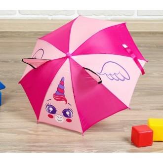 """Зонт детский механический """"Единорог """", с ушками, r=26см 1-2 года"""
