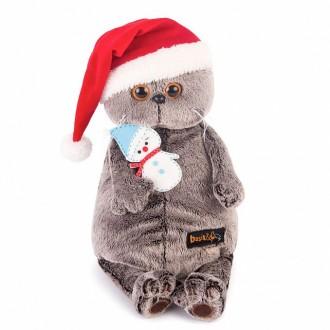 Кот Басик в колпаке со снеговичком (30 см)
