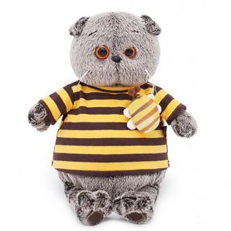 Кот Басик в полосатой футболке с пчелой (25 см)