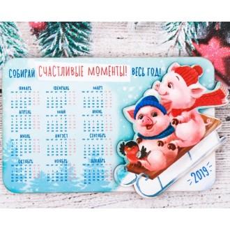 """Магнит-календарь деревянный """"Собирай счастливые моменты"""""""
