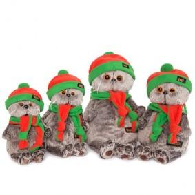 Кот Басик в оранжево-зеленой шапке и шарфике (22 см)