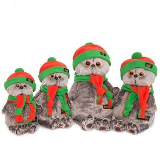 Кот Басик в оранжево-зеленой шапке и шарфике (19 см)