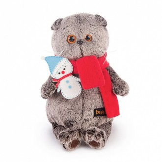 Кот Басик в шарфике со снеговичком (19 см)