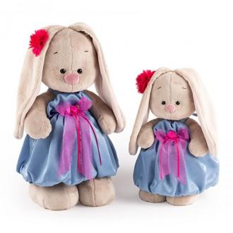 Зайка Ми в синем платье с розовым бантиком (25 cм)