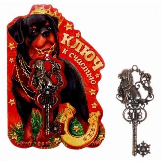 """Ключ сувенирный на подложке """" На счастье"""" (3,5 см × 8,2 см)"""