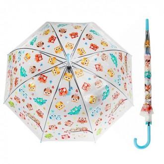 """Зонт полуавтоматический прозрачный """"Совы"""", трость, R=60см"""