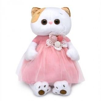 Кошечка Лили в платье с вязаными ягодками (24 см)