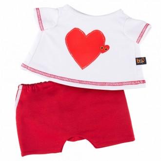 Футболка с принтом Сердце и красные шорты BudiBasa для Басика 25 см