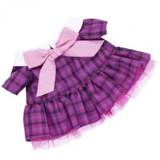 Платье в клетку с розовым бантом BudiBasa для Лили 24 см