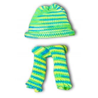 Шапочка и шарфик зеленый меланж для Басика 27-30 см иЗайки Ми 32 см