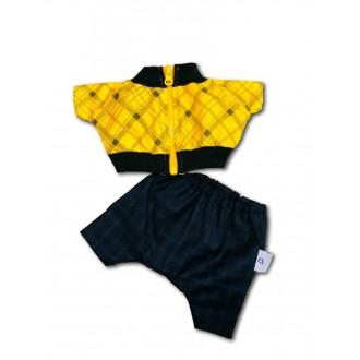 Желтая ветровка на молнии и классические брюки для Басика 19-20 см