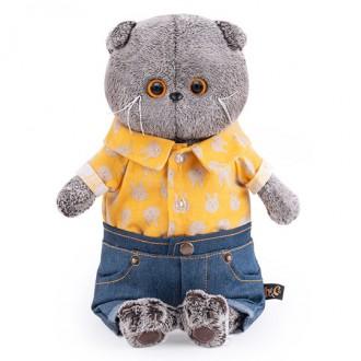 Кот Басик в джинсовых шортах и желтой рубашке (22 см)