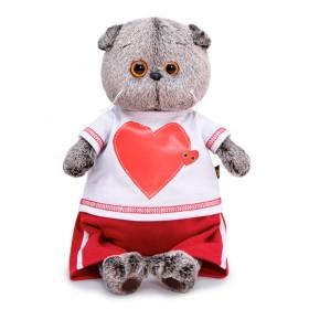 Кот Басик в футболке с сердцем (25 см)