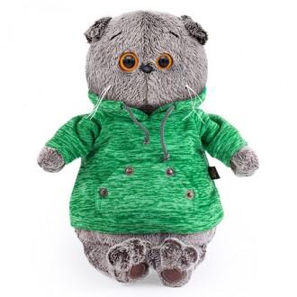 Кот Басик в зеленой толстовке с карманом-кенгуру (19 см)