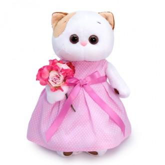 Кошечка ЛиЛи в розовом платье с букетом