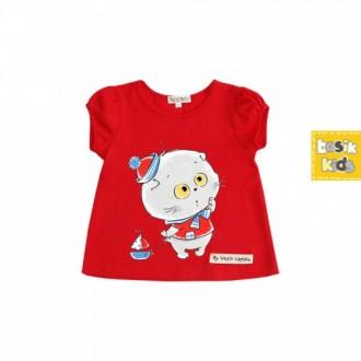 """Рубашечка с рукавом фонарик красная из коллекции """"My Little Captain"""" (р-ры: 062,068,074,092)"""