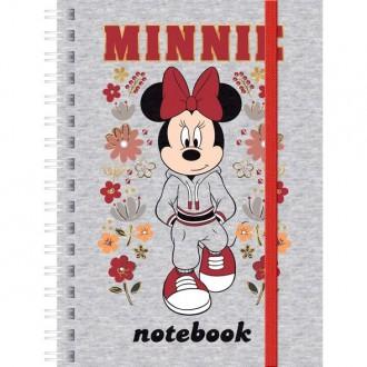 Записная книжка 80л А6ф клетка на гребне на резинке серия -Минни Маус- ( DISNEY)