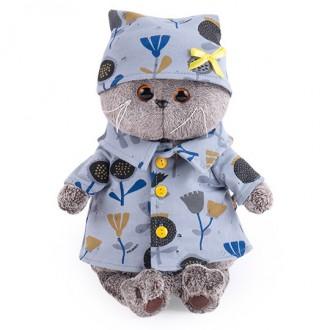 Кот Басик в голубой пижаме в цветочек (22 см)