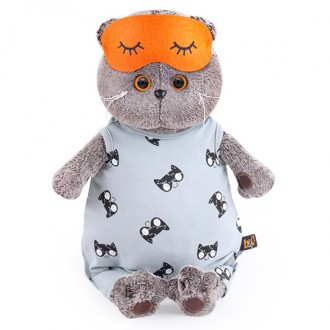 Кот Басик в сером комбинезоне и маске для сна (22 см)