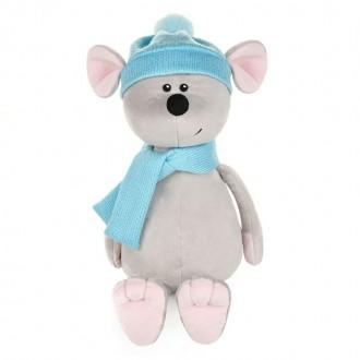 Мышонок Стасик в шапке и шарфе (21 см)