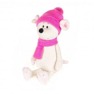 Мышка Мила в шапке и шарфе (21 см)