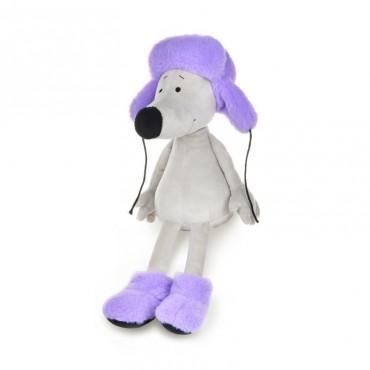Крысеныш Борис в фиолетовой шапке и валенках (28 см)