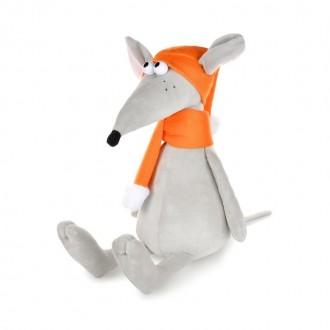 Крысеныш Денис в оранжевой шапке и шарфе (24 см)