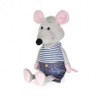 Мышонок Степа в полосатой майке и джинсах (23 см)