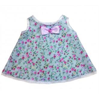 Платье из голубого сатина мелкий цветочек для Лили 24 см