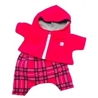 Костюм: клетчатые брюки и толстовка на молнии с капюшоном для игрушек 25-27 см