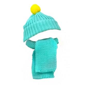 Вязаная шапочка с помпончиком и шарфик для игрушек 19-22 см
