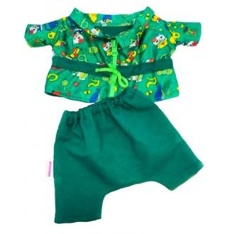 Костюм: курточка зеленая и брючки для игрушек 25-27 см