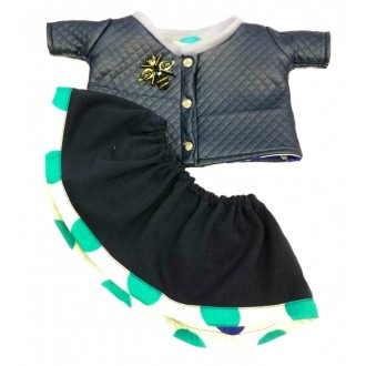 Костюм: стеганая курточка с брошью и юбочка для Лили 24 см