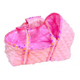 Люлька для игрушек 19-22 см Розовая бархатная с сердечками на отделке