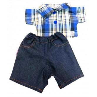 Костюм: рубашка в бело-голубую клетку и синие джинсы для Зайки Ми 23 и 32 см
