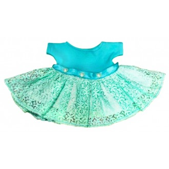 Платье с бирюзовой кружевной юбкой, украшенное сердечками для Зайки Ми 23 и 32 см