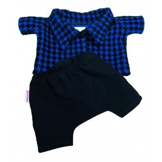 Костюм: пальтишко синее в лапку и брюки для Басика 19-20 см