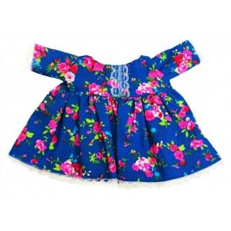 Джинсовое платье в цветы с отделкой кружевом  для Зайки Ми 15 см