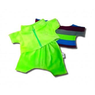 Костюм салатовый спортивный тройка: брюки и олимпийка и полосатая футболка для Басика 30 см