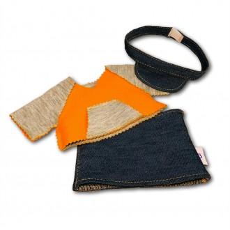 Костюм джинсовая юбочка и комбинированный худи для Зайки Ми 18 и 25 см