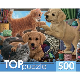 TOPpuzzle. ПАЗЛЫ 500 элементов. ХТП500-6811 Пушистые друзья