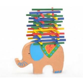 Деревянная игрушка. Баланс. СЛОНИК (в наборе слоник-подставка, палочки)
